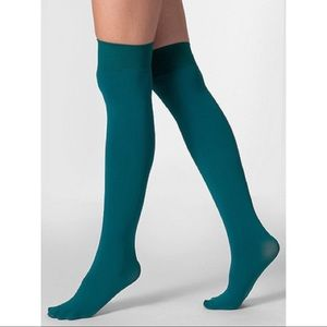 Opaque Over-The-Knee Sock in Teal Green